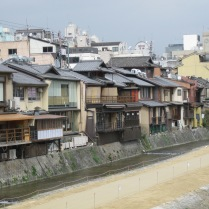 Houses on the river in Kyoto