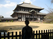 Bedraggled and shadowed, I'm in front of the temple in Nara housing the Great Buddha