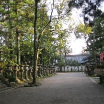 Lantern-lined approach to a temple in Nara