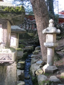 A view of the stream by the lantern temple in Nara