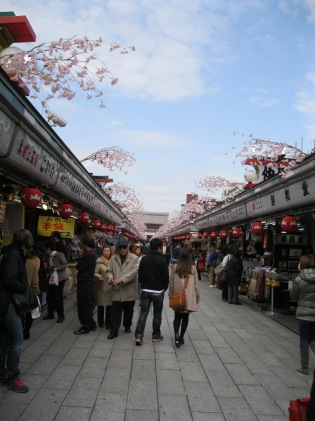 Market between the gate and the Sensoji Temple