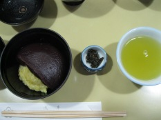 Dessert (red bean paste and some cooked grain) along with green tea at a well known dessert place near the temple.