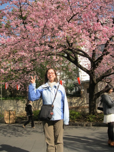 One of the two trees at an entrance to Ueno Park that actually had cherry blossoms already!