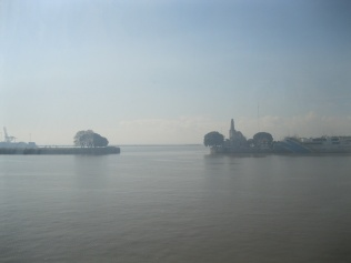 View from the Buquebus ferry in port in Buenos Aires