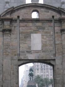 Through the door - looking into Plaza Independencia, Montevideo