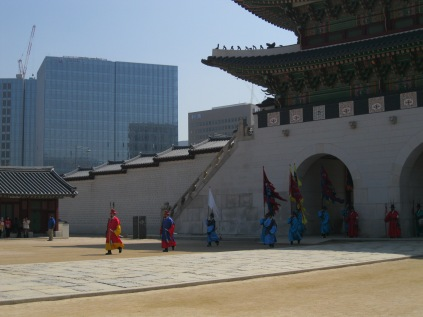 I arrived at Gyeongbok Palace as the changing of the guards took place