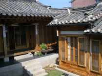 A different angle view of the hanok's courtyard