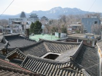 A spectacular view down onto hanok roofs
