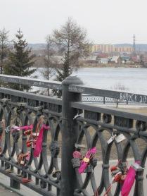 Locks on the pedestrian bridge by Angara River