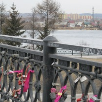 Locks on the pedestrian bridge by Angara River