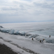 The ice crunched up on the shore