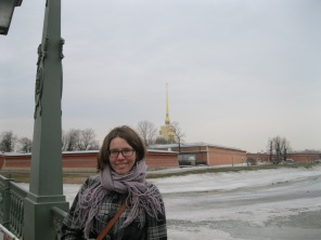 My friend in front of the Peter and Paul Fortress