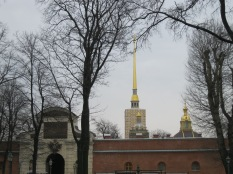 Peter and Paul Fortress - the scaffolding on the tower looks as though it's part of the building