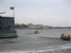 The cruiser Aurora and the frozen river