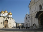 A square filled with churches in the Kremlin