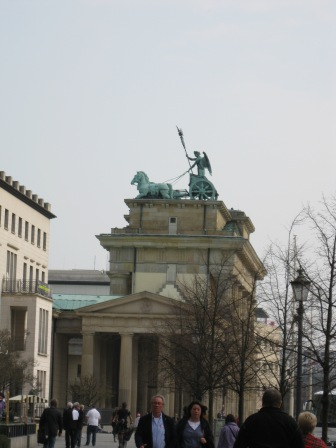 The view of the Brandenburg Gate coming from Parliament