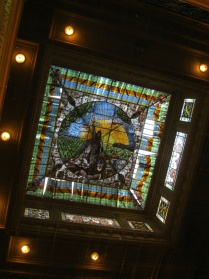 Ceiling in the room where all the provincial flags are flown