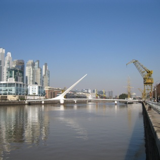 A first view of Puerto Madero and the Women's Bridge
