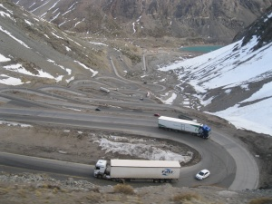 Traffic on the around 30 switchbacks in the Chilean Andes