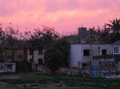Gorgeous sunset near Neruda's house in Barrio Bellavista