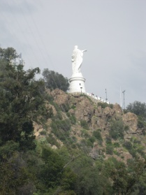 Statue of the Virgin at the top of Cerro San Cristobal