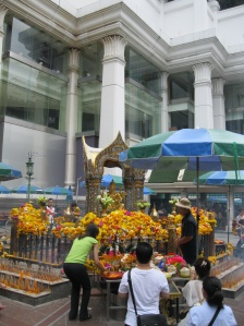 The devout in front of the Erawan Shrine, Bangkok