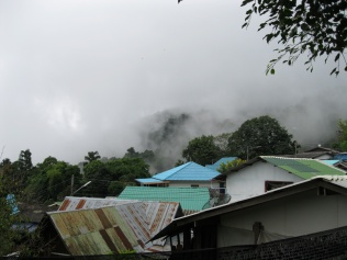 The rain is moving into the Hmong village...