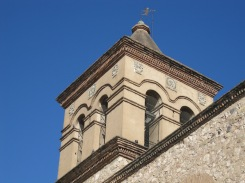 A close-up of the Manzana church belltower - note the fantastic weathervane!