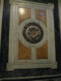 Close-up showing the design meant to look like the Medici Chapel