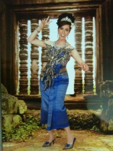 Me in traditional Khmer clothes photoshopped to Angkor Wat