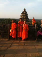 Monks visiting the top of Phnom Bakheng