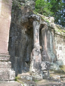 Organic-looking stone columns represent elephant trunks